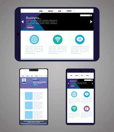 mockup responsive web, concept website development in tablet device and smartphones vector illustration design