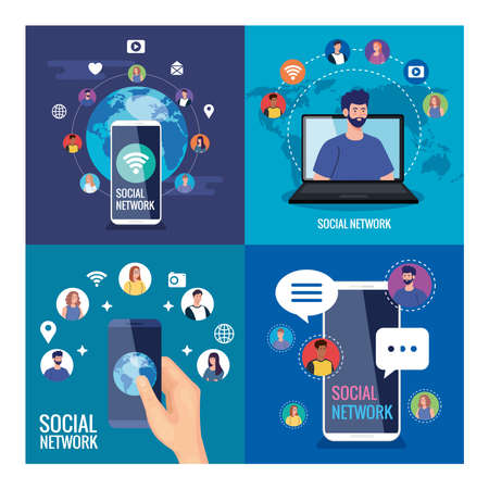 set posters of social network, people connected digitally, interactive, communication and global concept vector illustration design