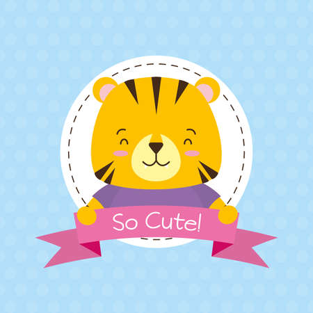 cute tiger animal cartoon sticker vector illustration design