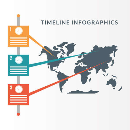 Timeline Infographics with world map design, Data information business and analytics theme Vector illustration Illustration
