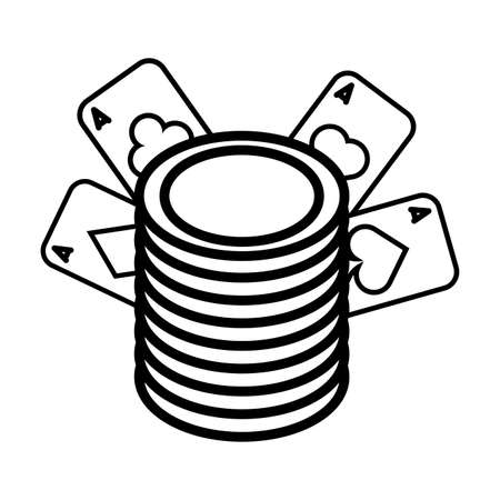 casino poker cards and coins money vector illustration design 向量圖像
