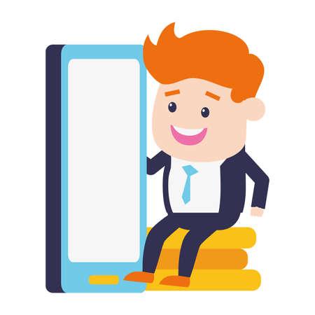 businessman mobile coins stacked online banking vector illustration Ilustração
