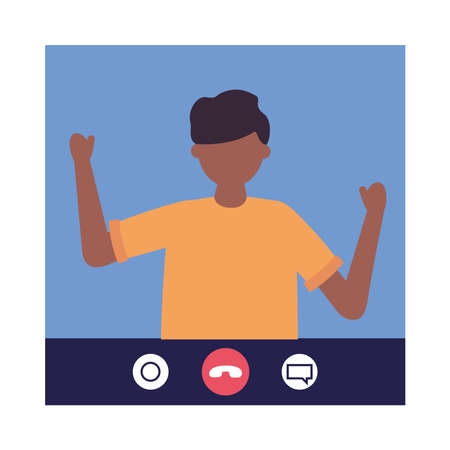 young man in video call connecting technology character vector illustration design Ilustração