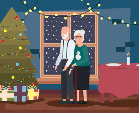 grandparents couple in livingroom with christmas decoration vector illustration design