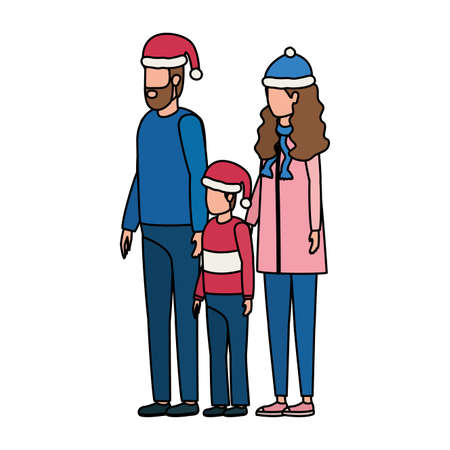 parents couple and son with christmas hats characters vector illustration design 일러스트