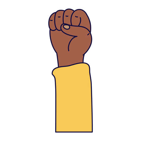 afro hand human fist protest icon vector illustration design