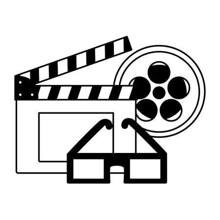 clapboard reel strip 3d glasses cinema movie vector illustration