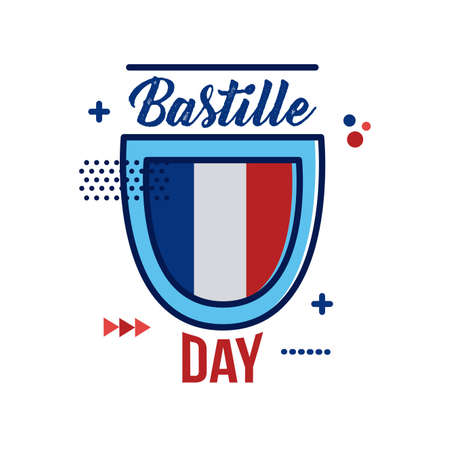 shield with france flag and lettering flat style vector illustration design Ilustracja
