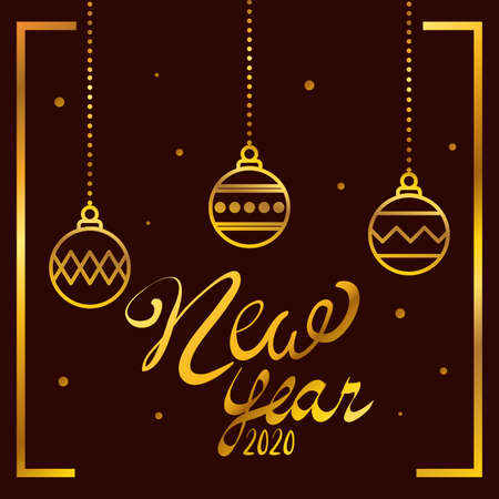 happy new year lettering with balls hanging vector illustration design