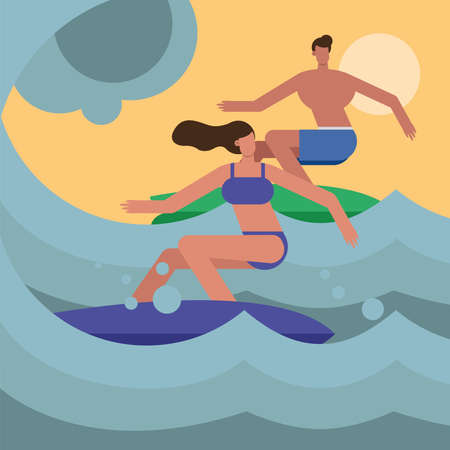 young couple wearing swimsuits surfing characters vector illustration design