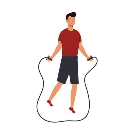 Man jumping lasso design, Gym sport bodybuilding healthy lifestyle activity cardio leisure and exercise theme Vector illustration 일러스트