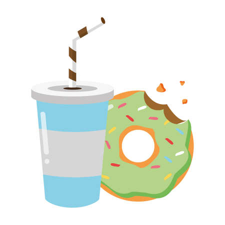 sweet donut and soda on white background vector illustration