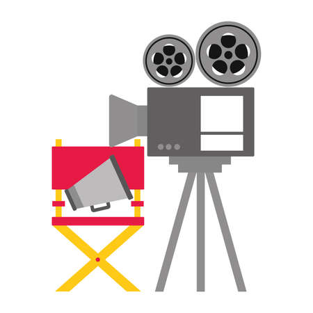 projector chair 3d glasses cinema movie vector illustration