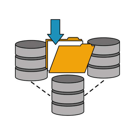 data center disks with folder isolated icon vector illustration design Vettoriali