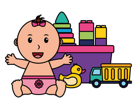baby girl with bucket blocks duck and truck toys vector illustration