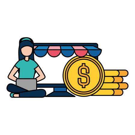 woman with laptop and dollar coins vector illustration desing Illusztráció