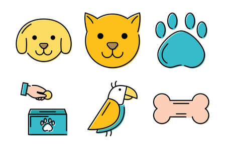 bundle of mascots and accessories vector illustration design Stock Illustratie