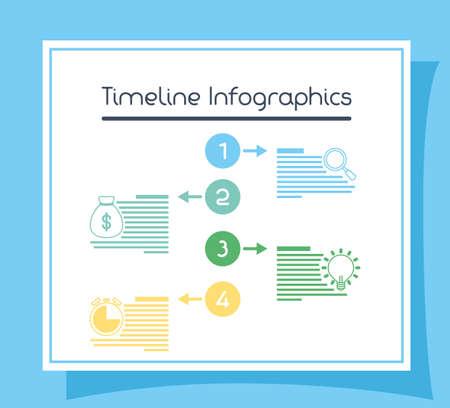 business circular time line infographics vector illustration design Vettoriali