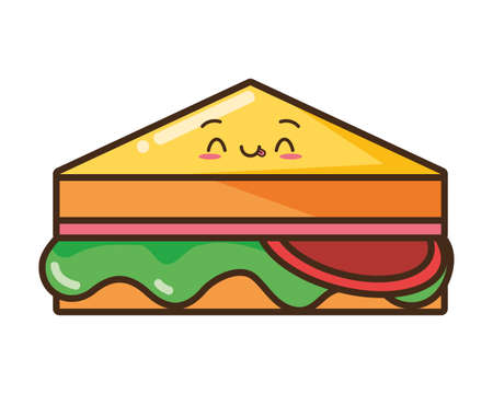 kawaii cartoon sandwich character vector illustration design