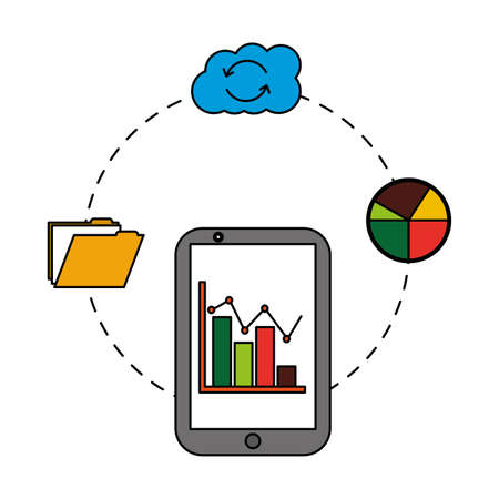 smartphone with cloud computing and set icons vector illustration design