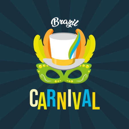 hat and mask feathers brazil carnival festival black background vector illustration