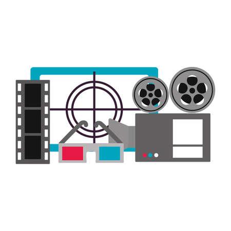 projector 3d glasses countdown screen cinema movie vector illustration