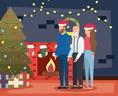 cute grandfather with young couple in room christmas decorated vector illustration design
