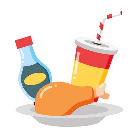 chicken soda fast food white background vector illustration