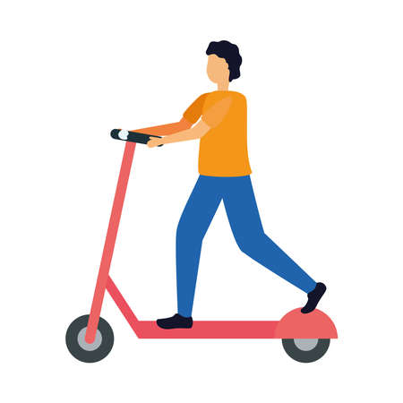 Man on scooter design, Vehicle lifestyle sport and transportation theme Vector illustration