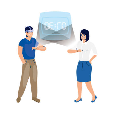 couple using reality virtual tech in smartwatch vector illustration design