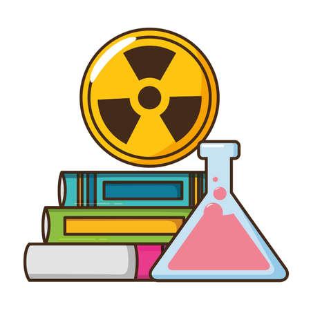 school books lab flask radiation vector illustration design