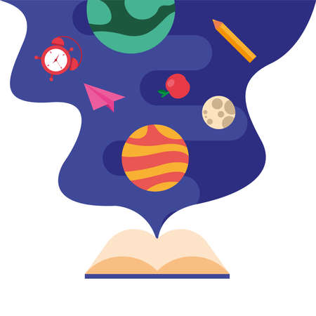 text book learning with school set items vector illustration design Vecteurs