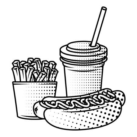 delicious hot dog with soda and french fries vector illustration design
