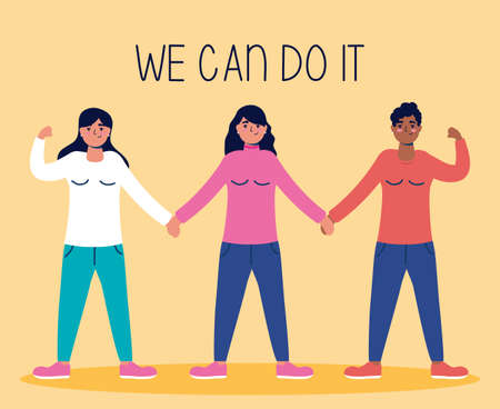 group of interracial women with we can do it message vector illustration design Vetores
