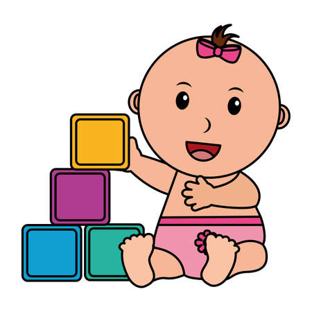 baby girl with cubes toys vector illustration