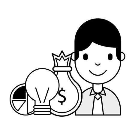 businessman money bag chart business investment vector illustration