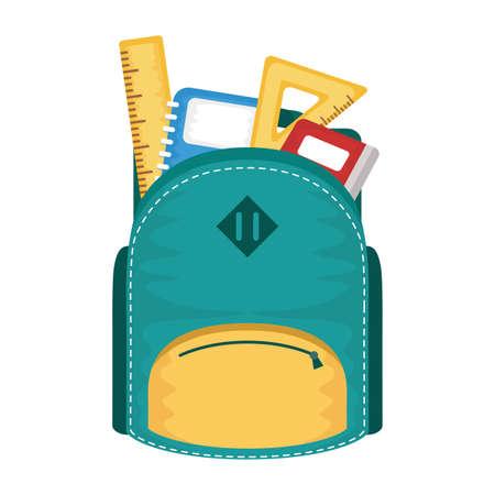 school bag with set supplies vector illustration design Vecteurs