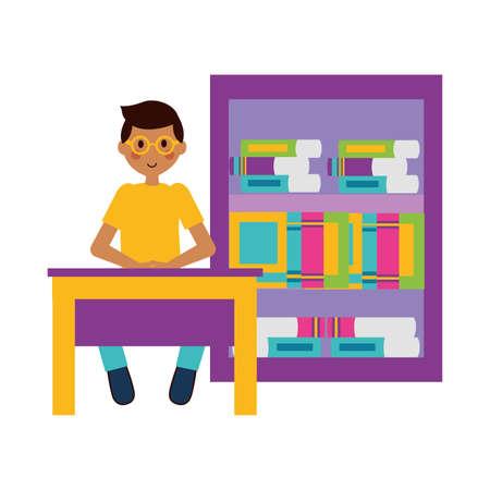 boy with laptop bookshelf books teachers day vector illustration Vettoriali