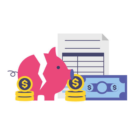 piggy money form tax time payment vector illustration  イラスト・ベクター素材
