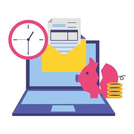 laptop broken piggy bank money clock form tax payment vector illustration