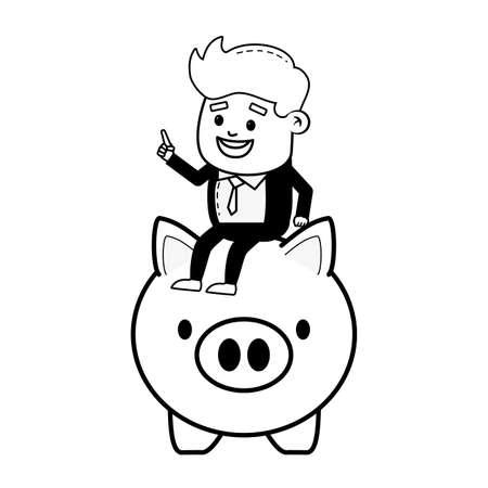 businessman and piggy bank online payment vector illustration  イラスト・ベクター素材