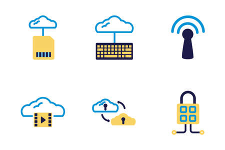 bundle of cloud computing lineal colors style icons vector illustration design