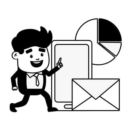 businessman mobile email chart online banking vector illustration  イラスト・ベクター素材