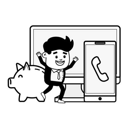businessman mobile computer piggy bank online payment vector illustration  イラスト・ベクター素材