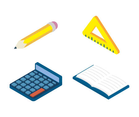 set of education supplies set icons vector illustration design 矢量图像