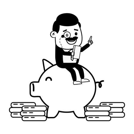 businessman sitting on piggy money online banking vector illustration