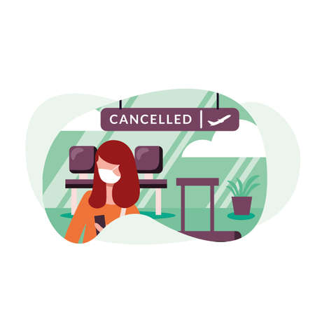 Woman with medical mask and cancelled flight board design, Cancelled flights travel and airport theme Vector illustration