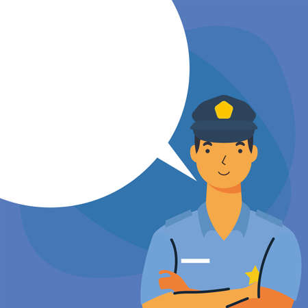 police man with bubble design, Workers actions working occupation jobs proffesional employee service and labor theme Vector illustration