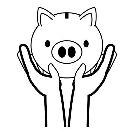 hands with piggy bank online banking vector illustration