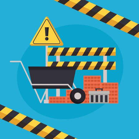 construction equipment wheelbarrow bricks barricade warning sign vector illustration Çizim